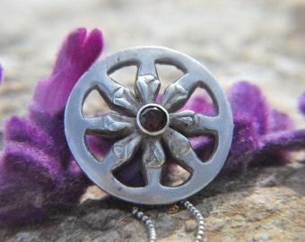 Dharma wheel Pendant, silver nacklass, garnet Gemstone, buddhist necklace, silver nacklass, garnet pendant, yoga necklace, dharma wheel