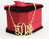 Monogram Necklace 1 '' Inch Initial Pendant Personalized Letter Jewelry Custom Made Namenecklace xxl- 18k Yellow Gold Plated