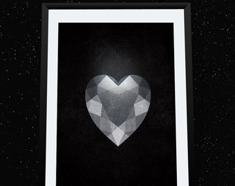 Gemstone, Printable Art, Heart, Facet, Wall Decor, Illustration