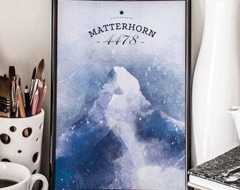 Matterhorn, Printable Poster, Alps, mountain poster, wall decor, illustration
