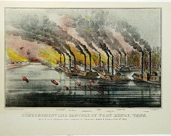 Wonderful Vintage Color Civil War Lithograph * Currier & Ives * Bombardment And Capture Of Fort Henry, Tennessee * Color Print