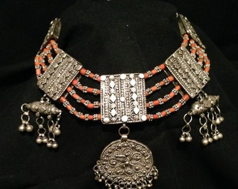 Antique Yemenite Coral and Silver Necklace
