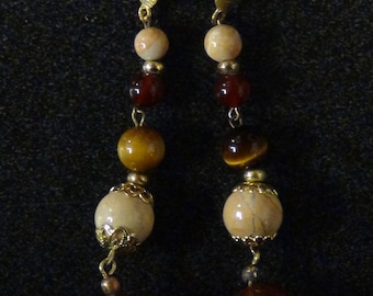 Semi-Precious Carnelian and Multi Stone Earrings