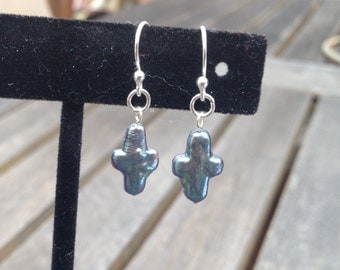 Freshwater peackock pearl and silver cross earrings