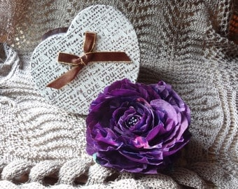 brooch silk flower, brooch purple silk roses. Ready to ship.Аксессуар Роза брошь заколка из натурального шёлка