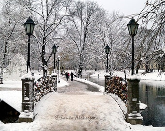 Winter view in a park in Riga, Latvia - Fine Art Photography, 8x12 print, winter photography, snow photography, nature photography, wall art
