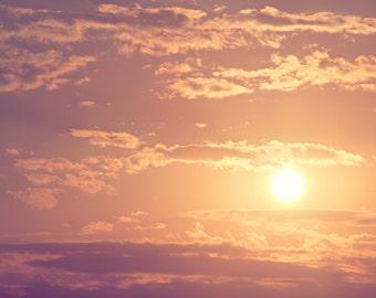Plum Sunset Color Photo Print { clouds, lavender, cream, sky, yellow, rose, dusk, evening, wall art, macro, nature & fine art photography }