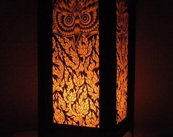 Thai Handmade Asian Oriental Classic Owl Paper Lamp Shade Bedside Table Light Home Decor Bedroom Decoration Modern Thailand