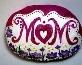 """Painted Stones Mothers' Day Gift Gift for """"MOM"""" Pink Green White """"LOVE Health Wealth Happiness"""" On Back Side"""