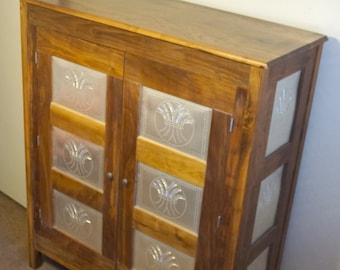 Punched Tin Jelly Cupboard 100% Solid Oak Or Cherry Or Black Walnut