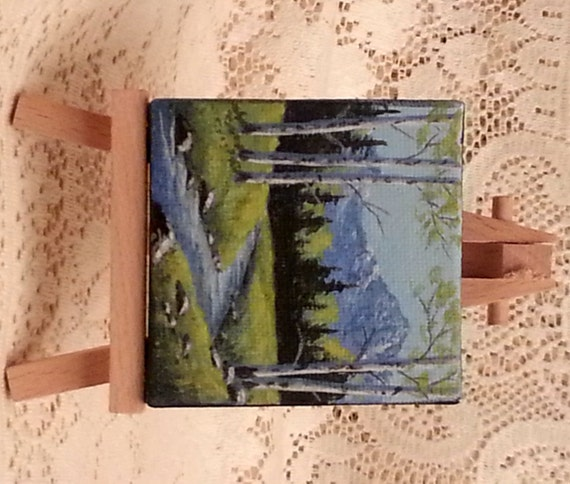 Miniature landscape painting of springtime in the Rocky