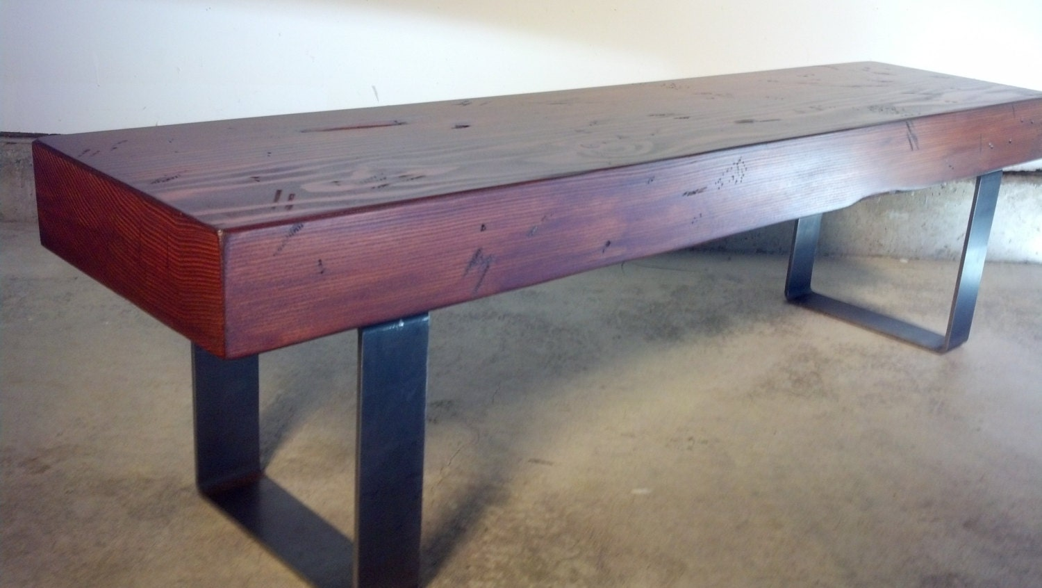 Rustic Industrial Entryway Bench With Solid Wood Beam And