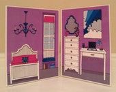 A full color version of a two page bedroom for an eleven inch doll.
