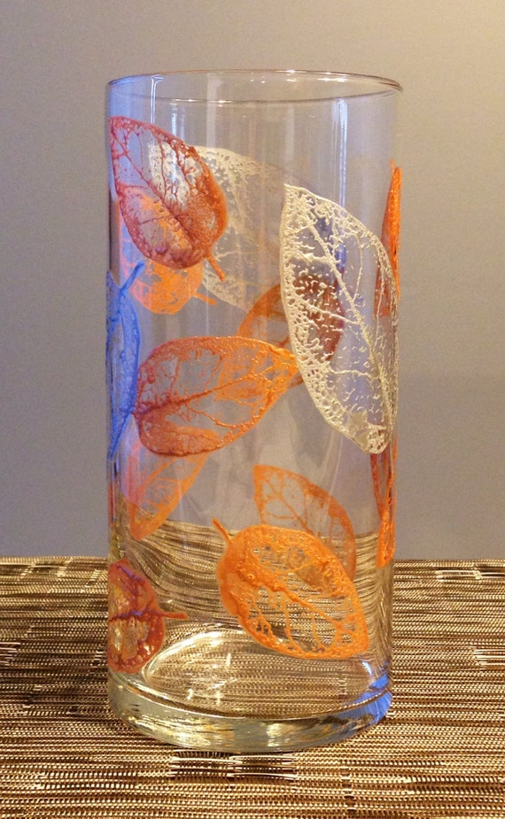 Metallic Leaf Pattern Glass Vase