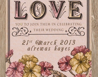 LOVE wedding invitation, floral design