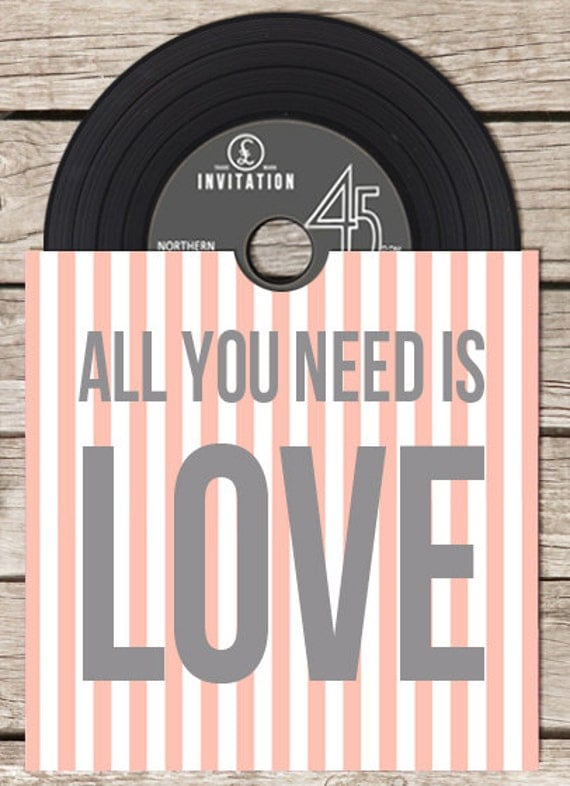 Vinyl cd wedding invitation pink for Etsy vinyl wedding invitations