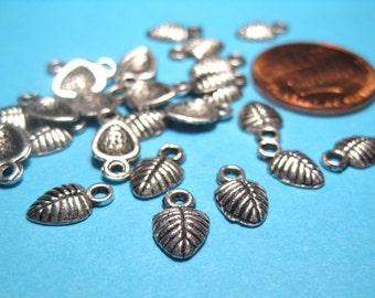 50pcs Antique Silver Small Leaf Charms Pendants 9x6mm