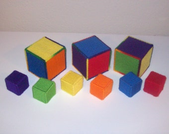Handmade Needle-crafted Baby Blocks with Bells