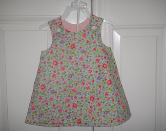 ON SALE!!!! Custom made Aline Dress- Multi color Flower Light blue/ Light Pink w/Heavy Pink Butterfly Embroidery -12- 24 mos. Ready to Ship