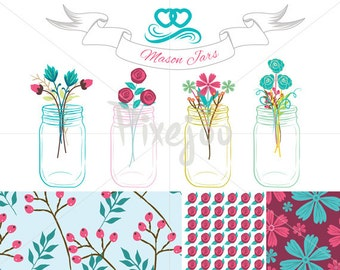4 Mason Jar Cliparts and 3 Patterns design with banner and line divider // Instant Download