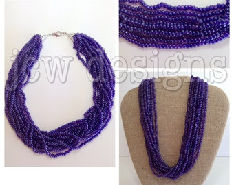 Violet-lined Amethyst Beaded Necklace