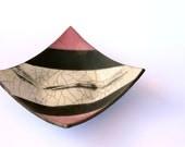 Ceramic raku plate, square pottery dish, pink, white, black