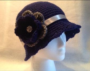 Crocheted Midnight Blue/Silver Cloche Hat with Rhinestone