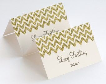"Gold place card template ""Chevron"" name cards -DIY Gold glitter wedding printable place cards YOU EDIT Word /Jpg instant download Avery 5302"
