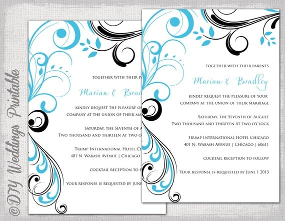 Wedding Invitation Templates Turquoise And Black Scroll Printable Template Malibu Blue YOU EDIT Digital Download