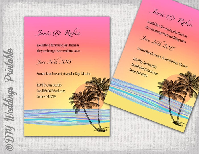 Beach Themed Wedding Invitations Templates: DIY Tropical Beach Wedding Invitations Template