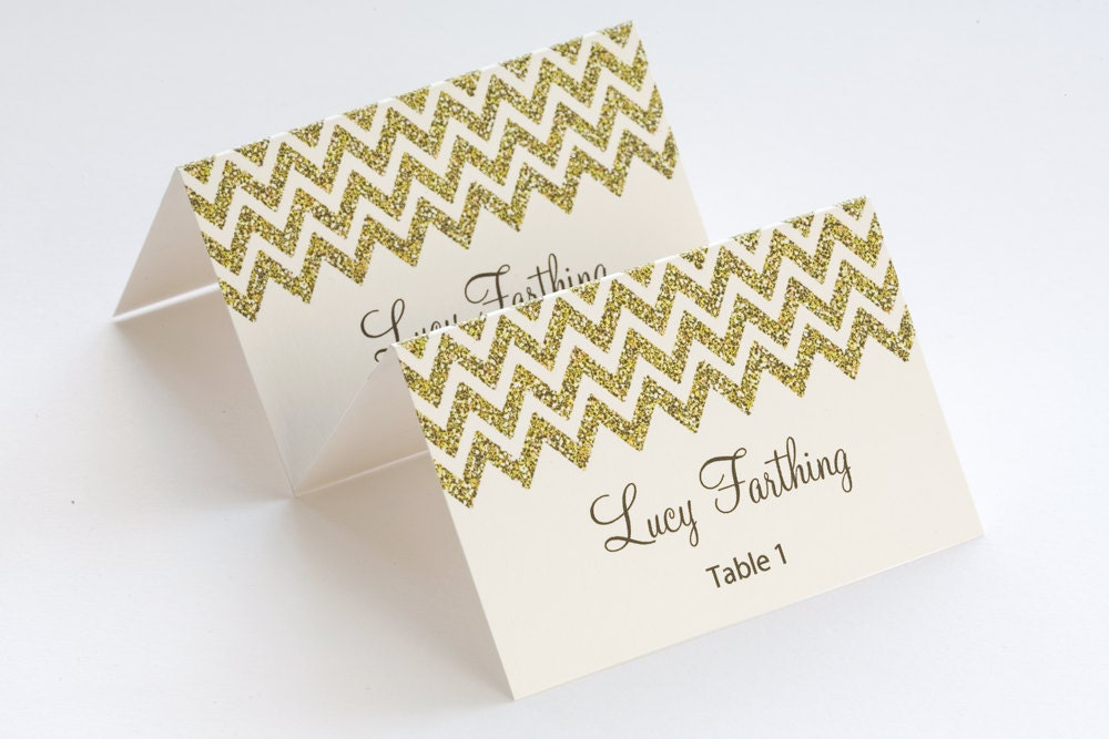 Gold place card template chevron name by diyweddingsprintable for Design table name cards