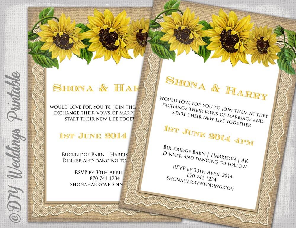 DIY Wedding invitations templates Printable yellow – Sunflower Wedding Invites