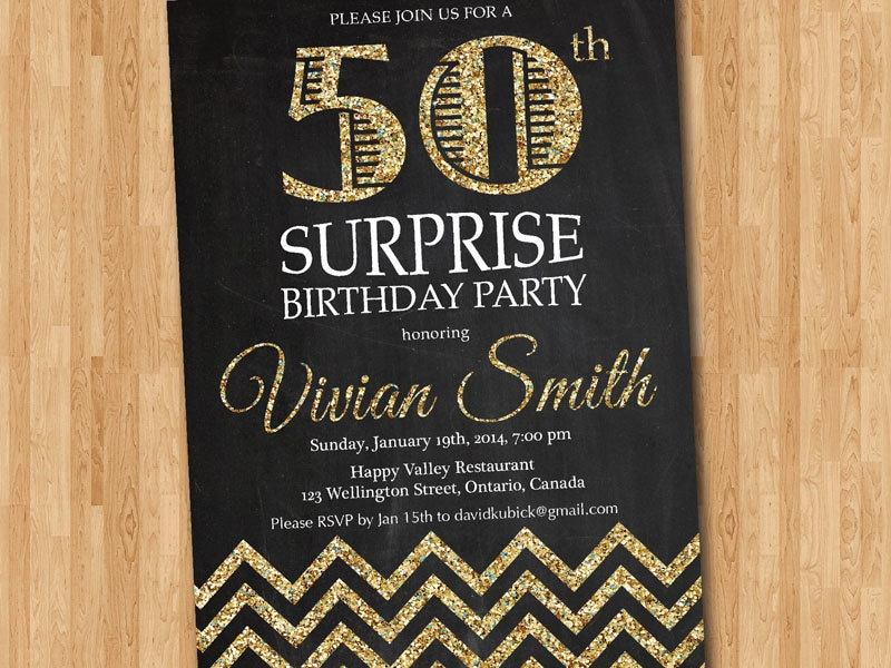birthday invitation 50th invitations 30th gold party surprise adult printable invite fifty elegant chevron glitter pink 60th 40th templates etsy