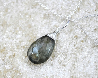 Sterling Silver Wire Wrapped Moss Aquamarine Necklace