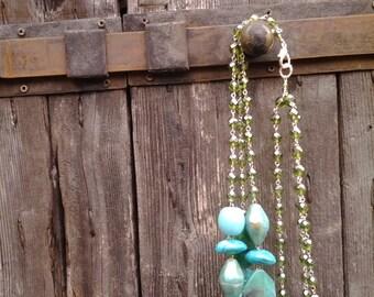 sea necklace/blue green cristal necklace