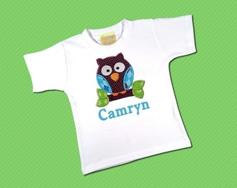 Brown Dot and Blue Argyle, Cutie Owl Top with Embroidered Name