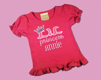 Girls Cute Lil Princess Fuchsia Shirt with Embroidered Name