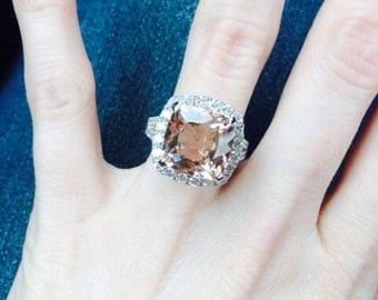 Morganite Engagement Ring 3.68ct Cushion Cut Peach Pink Morganite 2.35ct Diamonds Anniversary Unique Halo Eternity Pristine Custom Rings