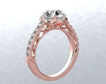 Moissanite Engagement Ring 1.0ct Round Forever One Moissanite Ring .53ct Genuine Diamonds Halo Rose Gold Ring Pristine Custom Rings