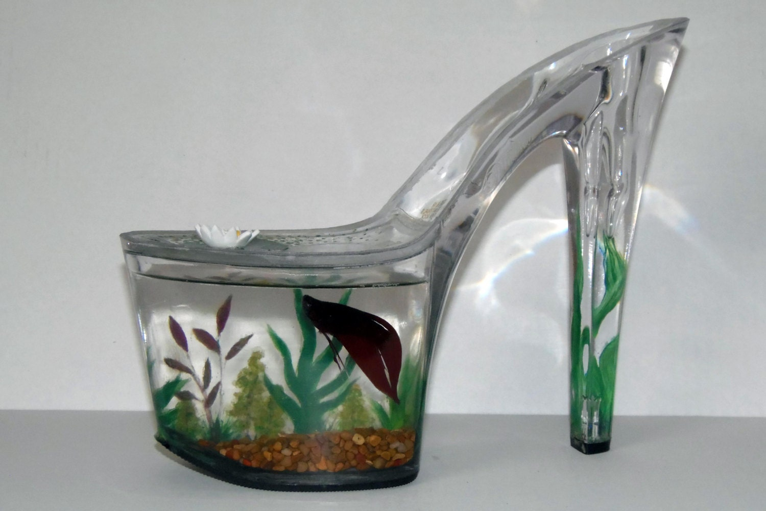 hand painted fish tank for shoe lovers for baby betta or