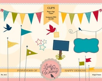 Flags & Tags Clipart · Digital Scrapbook · Clip Art · Journal Tags · Pennant · Personal or Commercial Use · Digital Paper · Instant Download