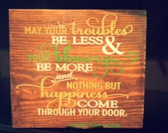 Irish blessing painted wood sign