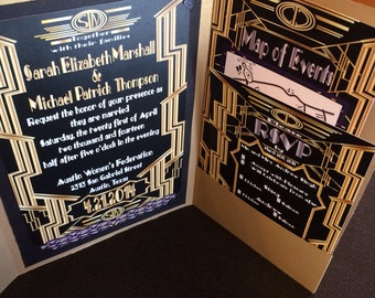 Great Gatsby Wedding Invitation and RSVP Set - Sample