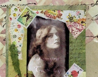 The Sweet Life LP034 Postcard.  Mixed Media Art Collage. 4x6.
