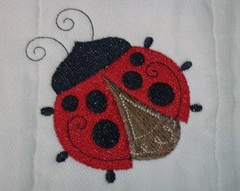 Lady Bug Burp cloth personalized