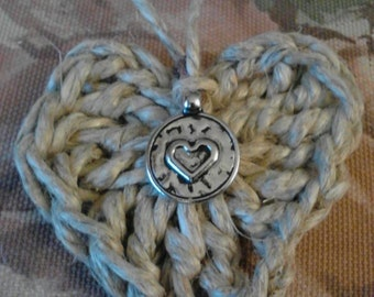 Crocheted Heart Necklace made with Hemp