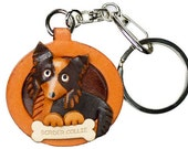 Border Collie 3D Leather Dog Plate Keychain Purse  Charm Accessory *VANCA* Made in Japan #26523 Free Shipping