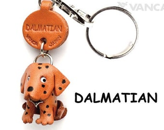Dalmatian 3D Leather Dog Keychain Keyring Purse Charm Zipper pull Accessory *VANCA* Made in Japan #56725 Free Shipping