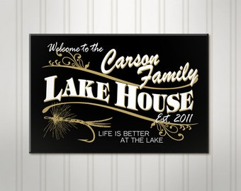 "Large Personalized Lake House Sign, Black Family Name Sign, Wood Lake Home, Cabin Retreat Fishing Plaque, 18"" x 24"""