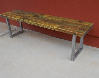Bench, Wood bench,  Reclaimed wood bench, Rustic Bench, Steel & Wood Bench, Distressed wood bench, Indoor bench